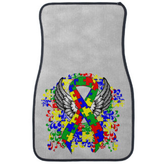 Puzzle Ribbon With Wings Car Mat