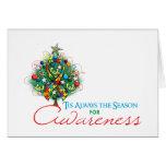Puzzle Ribbon Xmas Awareness Season Greeting Cards
