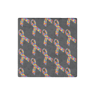 Puzzle Ribbons Tiled Pattern Stone Magnet