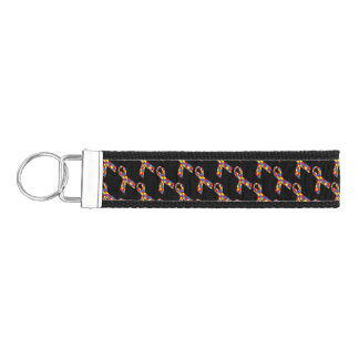 Puzzle Ribbons Tiled Pattern Wrist Keychain