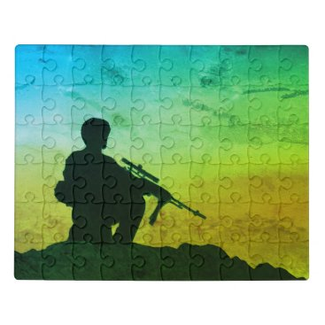 Puzzle Soldier Silhouette Green Filter