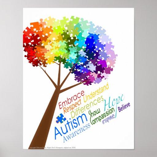 Autism Awareness Art Posters Framed Artwork: Puzzle Tree With Word Art Autism Awareness Poster