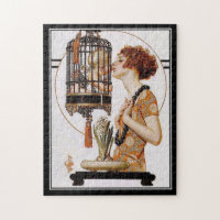 Puzzle Vintage lady baby cage
