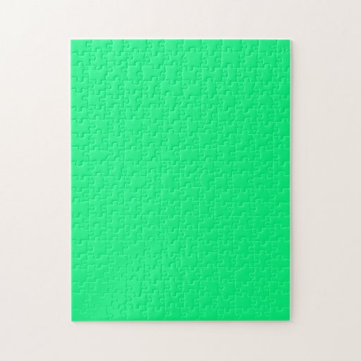 Puzzle with Bright Neon Green Background