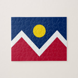 Puzzle with Flag of Denver City, Colorado State