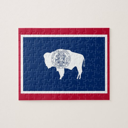 Puzzle with Flag of Wyoming State