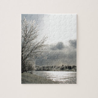 puzzle with photo of icy winter landscape