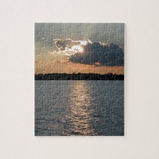 puzzle with photo of silver-lining sunset