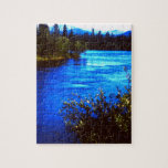 Puzzle with tin, scenic Alaskan River photo