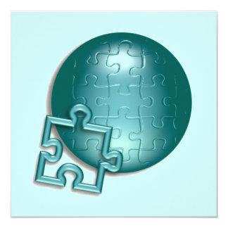 """Puzzle World Invitation 5.25"""" Square Invitation Card"""