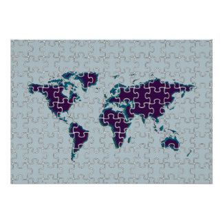 puzzle world map wall decor