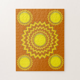 Puzzle - zig zag circles with yellow globes
