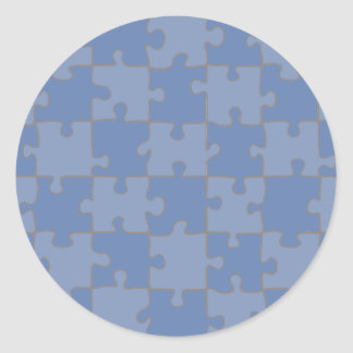 Puzzled Blue Classic Round Sticker