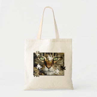 Puzzled Cat Budget Tote Bag