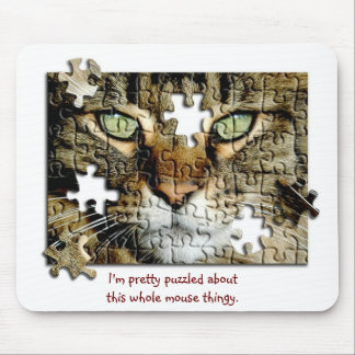 Puzzled Cat Mouse Pad
