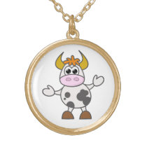 Puzzled Cow Gold Plated Necklace