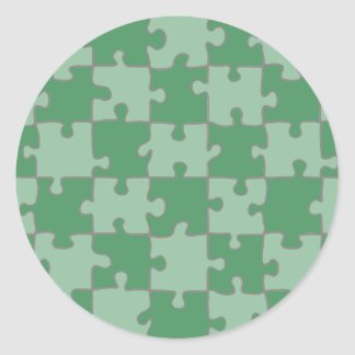 Puzzled Green Classic Round Sticker