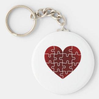 Puzzled Hearts Basic Round Button Keychain