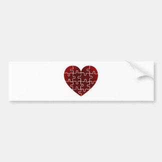 Puzzled Hearts Car Bumper Sticker