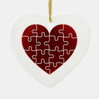 Puzzled Hearts Double-Sided Heart Ceramic Christmas Ornament