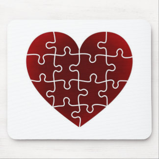 Puzzled Hearts Mouse Pad
