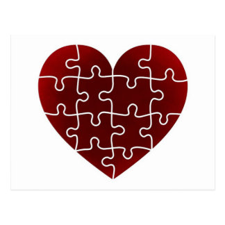 Puzzled Hearts Postcard