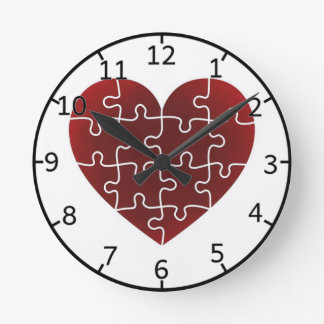 Puzzled Hearts Round Clock