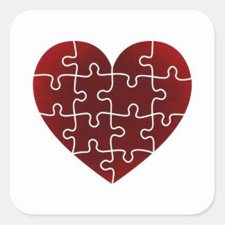 Puzzled Hearts Square Sticker