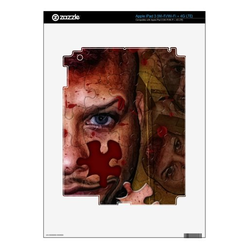 """""""pUZZLED hORROR"""" Decal For iPad 3"""