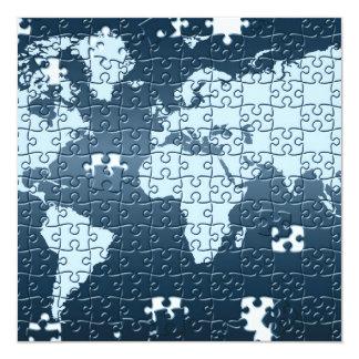"""Puzzled! Invitations 5.25"""" Square Invitation Card"""