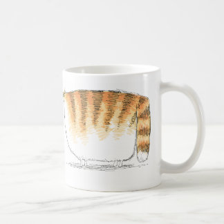 Puzzled orange striped cartoon cat coffee mug