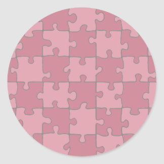 Puzzled Pink Classic Round Sticker
