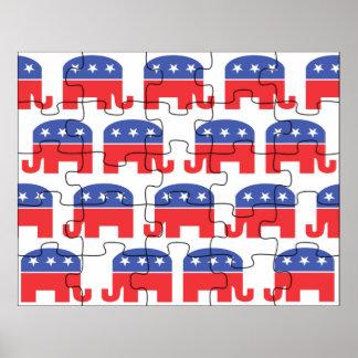 Puzzled Republican Elephants Print