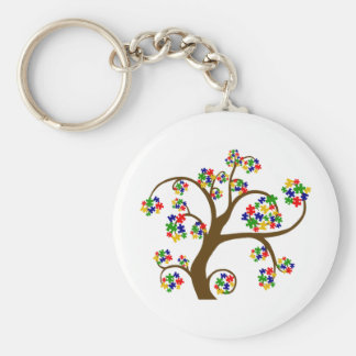 Puzzled Tree of Life Basic Round Button Keychain