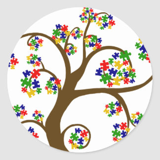 Puzzled Tree of Life Classic Round Sticker