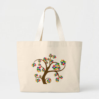 Puzzled Tree of Life Large Tote Bag