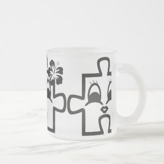 Puzzleine cup 10 oz frosted glass coffee mug