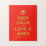 [Skull crossed bones] keep calm and love a aries  Puzzles