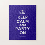 "Puzzles<br><div class=""desc"">Based on the original Keep Calm and ...  poster this cream and blue Keep Calm and Party On Puzzle features a custom designed font that matches the original closely.</div>"