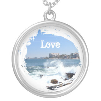 PV View With Crashing Wave; Customizable Round Pendant Necklace