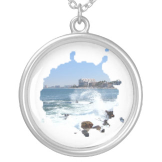 PV View With Crashing Wave; Mexico Souvenir Round Pendant Necklace