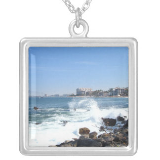 PV View With Crashing Wave Square Pendant Necklace