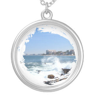 PV View With Crashing Wave Round Pendant Necklace