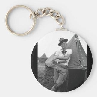 Pvt. Browne, Co. M, 16th Infty., Camp El Valle_War Basic Round Button Keychain