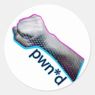 Pwned Gamer Tshirt Classic Round Sticker
