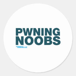 Pwning Noobs Pegatina Redonda