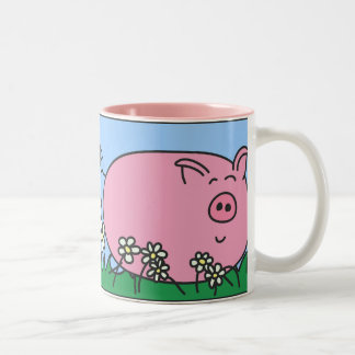 Pyggie in the Daisies Right Handed Mug