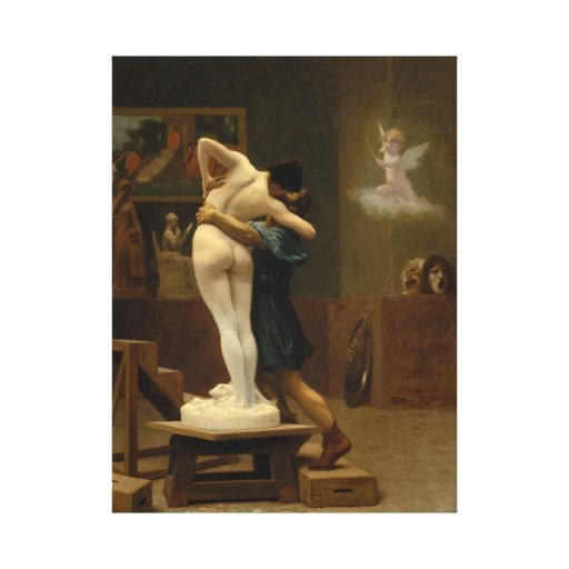 Pygmalion and Galatea by Jean-Leon Gerome Stretched Canvas Print