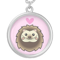 Pygmy Hedgehog Love Silver Plated Necklace