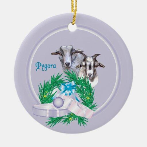 Pygora Goat Wreath Holiday Ornament
